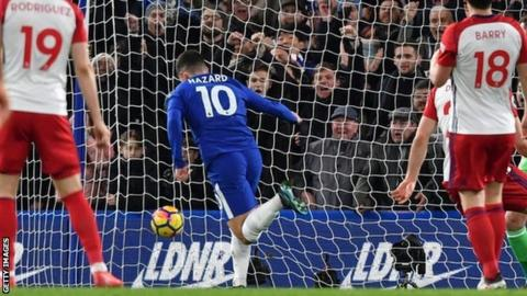 Eden Hazard celebrates scoring for Chelsea against West Brom