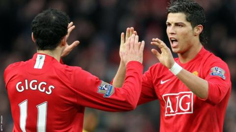 Cristiano Ronaldo celebrates with Ryan Giggs