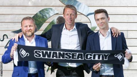 Bjorn Hamberg will join up with Billy Reid (L), boss Graham Potter (C) and Kyle Macaulay on the Swansea backroom staff
