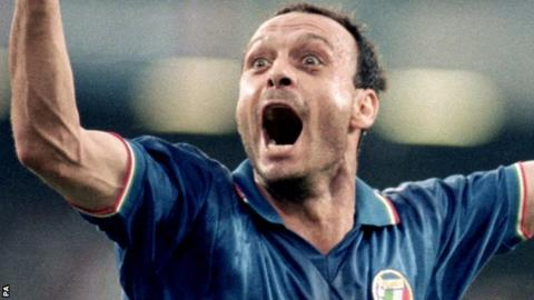 Image result for toto schillaci goal celebration