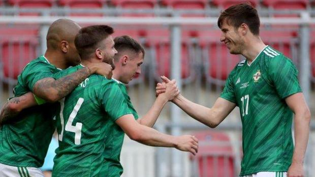 Delight for Gavin Whyte after he made it 2-0 at the Worthersee Stadion