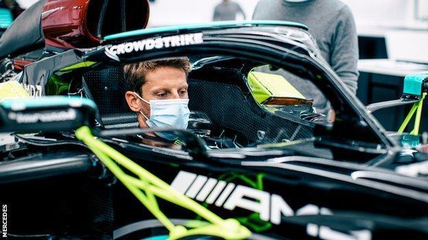 Romain Grosjean seat fitting at Mercedes