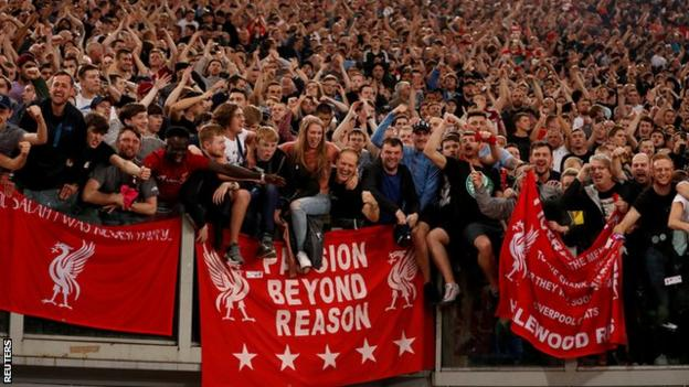 Liverpool were backed by 5,000 fans at Stadio Olimpico