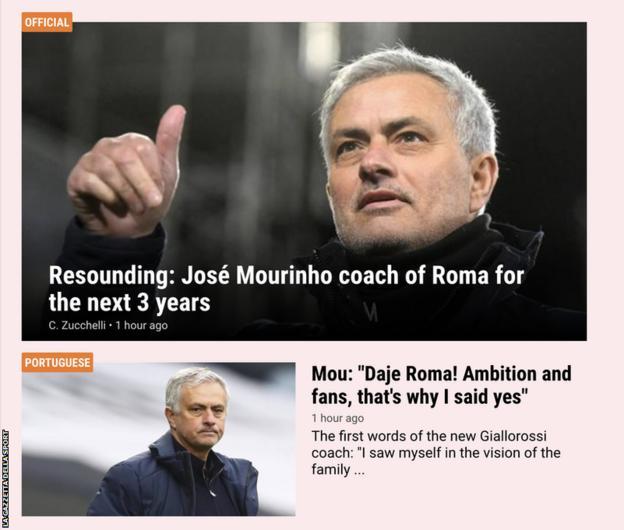 The front page of the La Gazzetta della Sport website