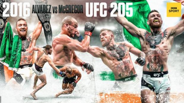Graphic showing the best moments of Conor McGregor's rivalry with Eddie Alvarez