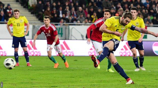 Charlie Mulgrew misses a penalty for Scotland