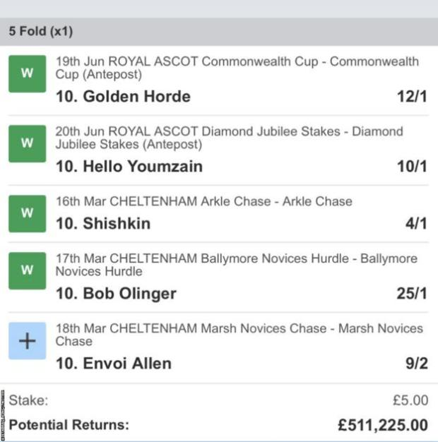 A bet slip showing a bet with Golden Horde, Hello Youmzain, Shishkin, Bob Olinger and Envoi Allen