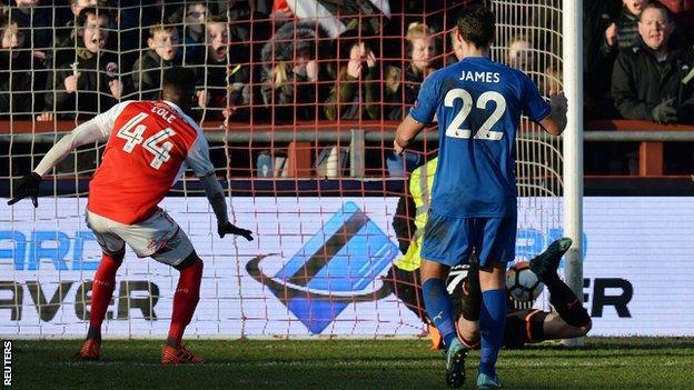 Eldin Jakupovic saves Ashley Hunter's shot