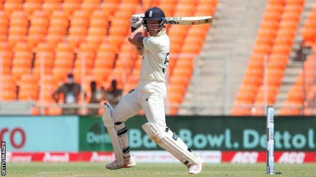 England batsman Ben Stokes plays a shot on day one of the final Test against India
