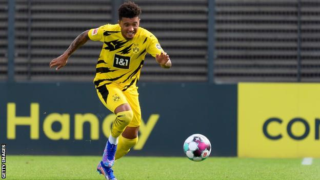 Jadon Sancho playing for Borussia Dortmund