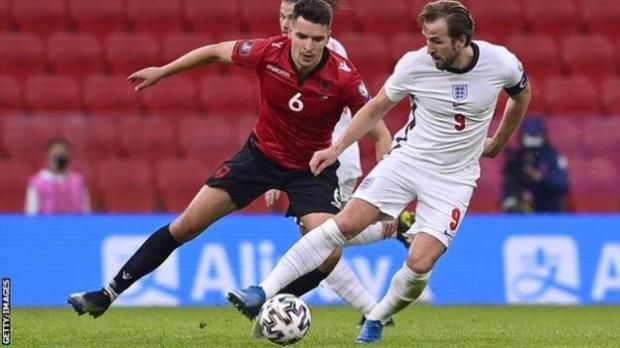 England captain Harry Kane in action against Albania in a World Cup 2022 qualifying match
