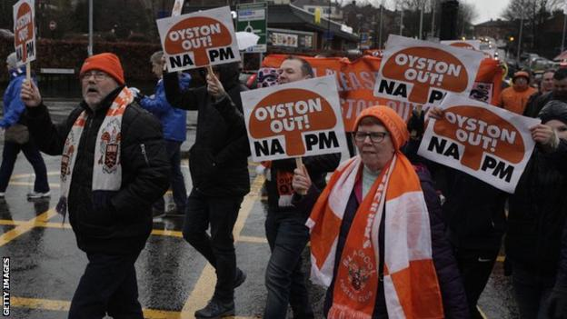 Supporters' march outside Ewood Park