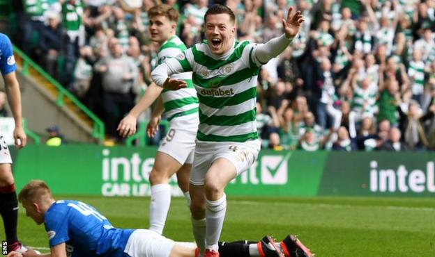 Celtic midfielder Callum McGregor scores against Rangers