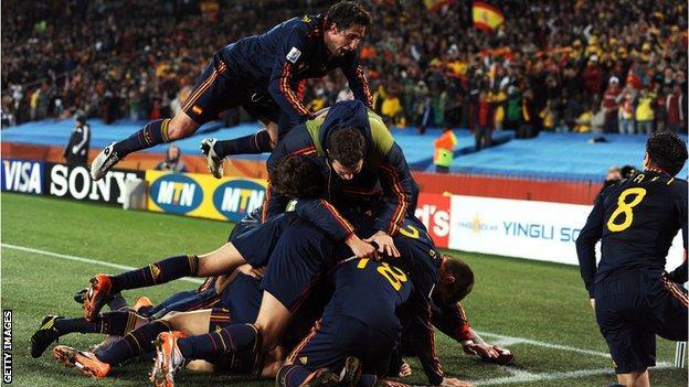 David Villa and Spain celebrate