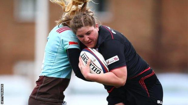 Bryony Cleall playing for Saracens