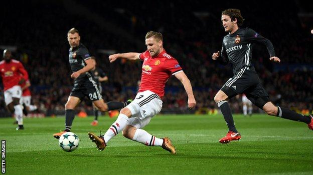 Manchester United full-back Luke Shaw