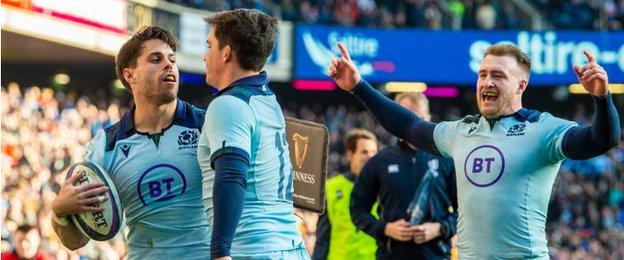 Scotland celebrate Sean Maitland's try in the victory against France in March