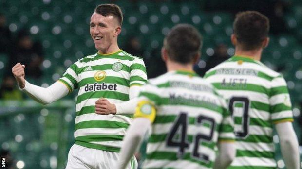 David Turnbull celebrates after scoring for Celtic against Aberdeen
