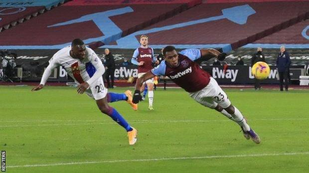 Christian Benteke heads Crystal Palace in front against West Ham at London Stadium