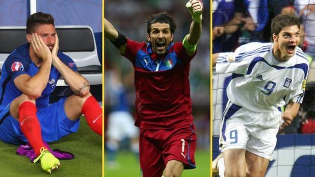 Olivier Giroud, Gianluigi Buffon and Angelos Charisteas