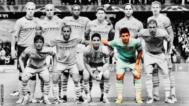 Man City's starting XI in their first Champions League game in the club's history, a 1-1 draw against Napoli in September 2011. Back row L-R Hart, Kompany, Toure, Barry, Lescott, Dzeko. Front row: Silva, Zabaleta, Nasri, Aguero, Kolarov