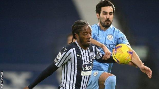 Romaine Sawyers in action during West Brom's loss to Manchester City