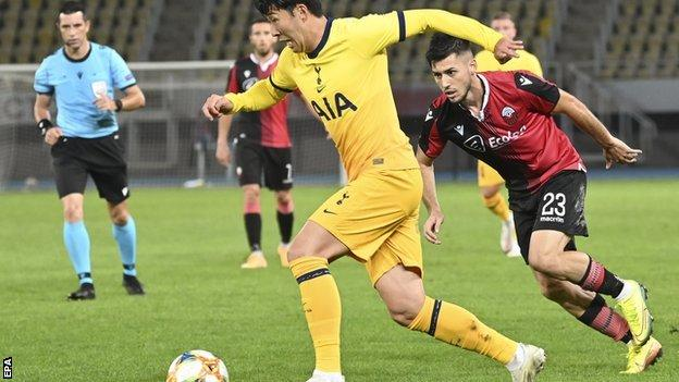 Son Heung-Min scored one and set up two as Spurs scored three in North Macedonia