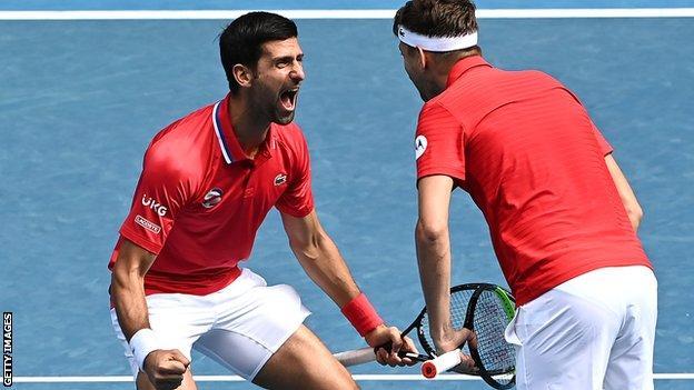 Novak Djokovic and Dusan Lajovic