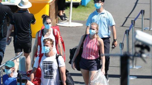 Tennis players in masks walking to training