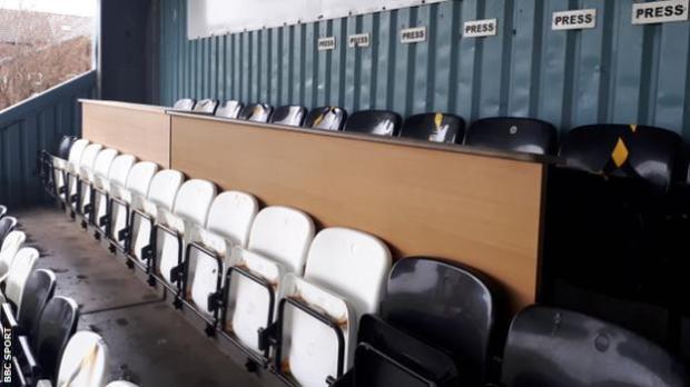 The press box at the Marine Travel Arena