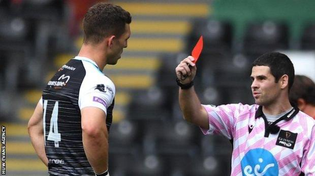 George North was sent off playing for Ospreys against Dragons in August, 2020