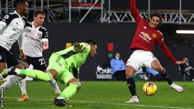 Edinson Cavani scores for Manchester United against Fulham