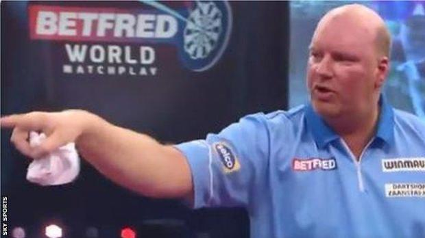 Vincent Van der Voort points at the referee Kirk Bevins