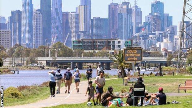 People walking along the Yarra River in Melbourne