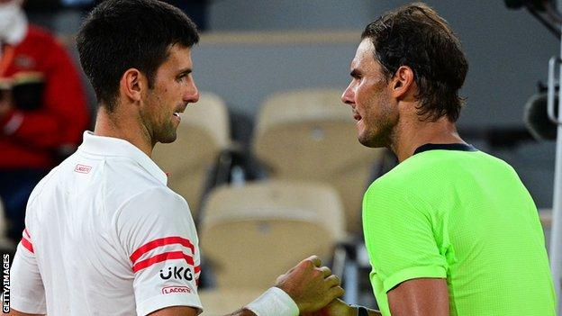 Novak Djokovic and Rafael Nadal shake hands after their epic French Open semi-final