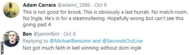 "One fan on Twitter describes Kell Brook's fight with Terence Crawford as ""one last hurrah"" for the Briton, while another says he has ""not got much faith in Kell winning without Dom Ingle"""