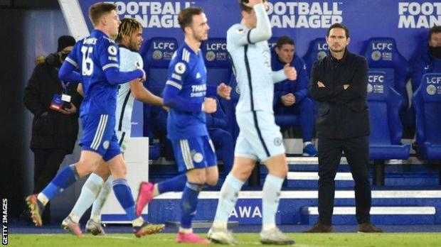 Chelsea boss Frank Lampard watches on as his side lose to Leicester