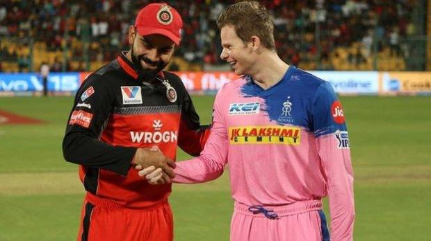 India and Royal Challengers captain Virat Kohli shakes hands with Rajasthan Royals' Steve Smith