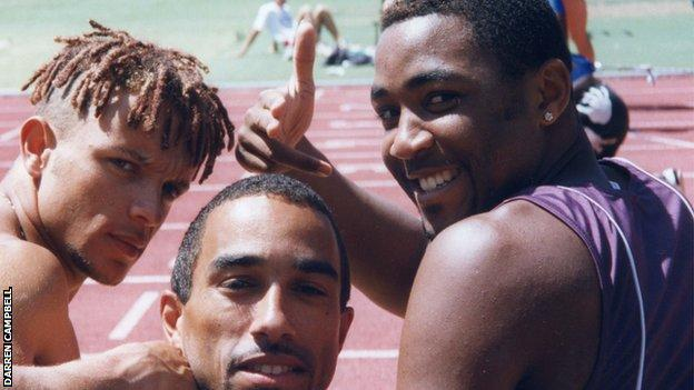Darren Campbell pictured with fellow sprinters Jamie Baulch and Paul Gray in 1996