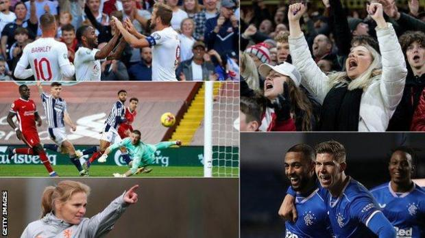A split image of England players, a Premier League match, Rangers players, football fans and Sarina Wiegman, the new boss of England's women