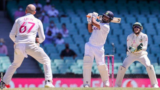 Indian drummer Rishabh Pant leads Nathan Lyon on day five of test three