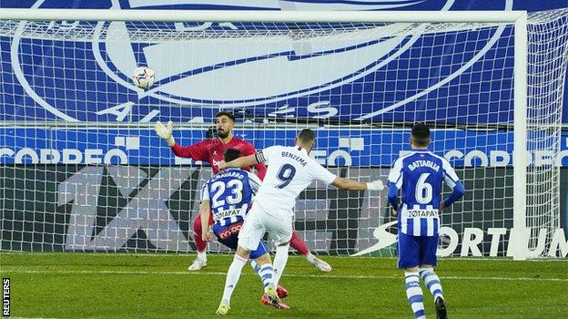 Karim Benzema scores for Real Madrid against Deportivo Alaves in January