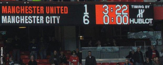 Manchester United lost 6-1 to Manchester City six years ago