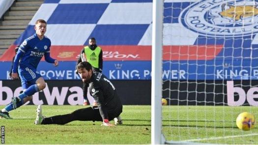 Harvey Barnes scores against Liverpool