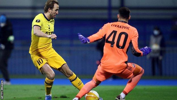 Dinamo Zagreb keeper Dominik Livakovic made three important saves to deny Harry Kane