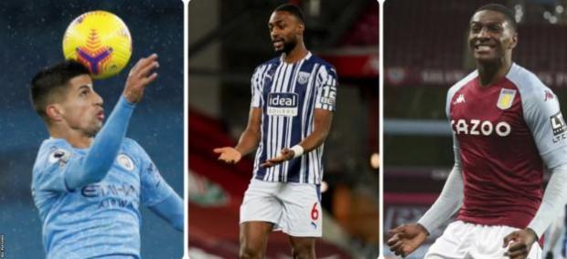 Manchester City's Joao Cancelo, Semi Ajayi of West Brom and Kortney Hause of Aston Villa