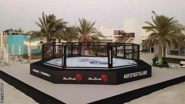 Octagon on the sand at UFC's Fight Island