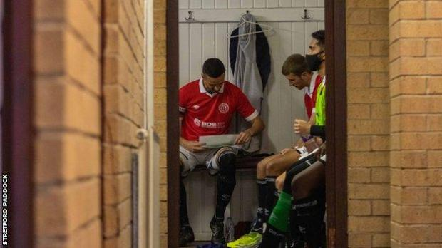 Stretford Paddock player in the changing room