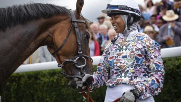 Khadijah Mellah and Haverland after winning the Magnolia Cup at Goodwood in August 2019
