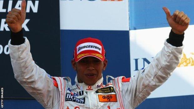 Lewis Hamilton on the podium in Australia in 2007